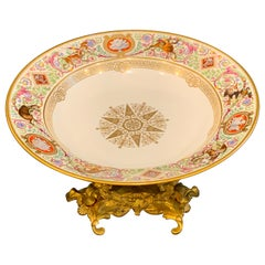 Sevres Porcelain Ormolu Tazza, From the Hunting Service of King Louis Philippe