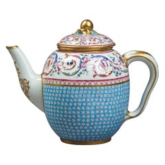 Sevres Sky Blue Ground Porcelain Teapot and Cover, Dated 1785