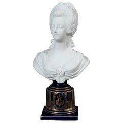 Sèvres Style Bisque Porcelain Bust of Marie Antoinette, Early 20th Century