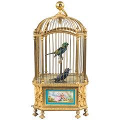 Sèvres Style Bontems Singing Bird Automaton. French, c 1890