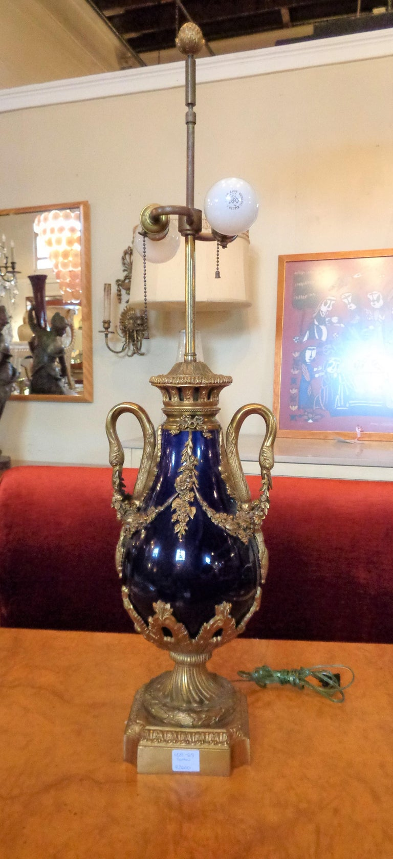 Louis XVI Sevres Style Cobalt Blue Porcelain & Bronze Swan Handle Urn Mounted as a Lamp For Sale