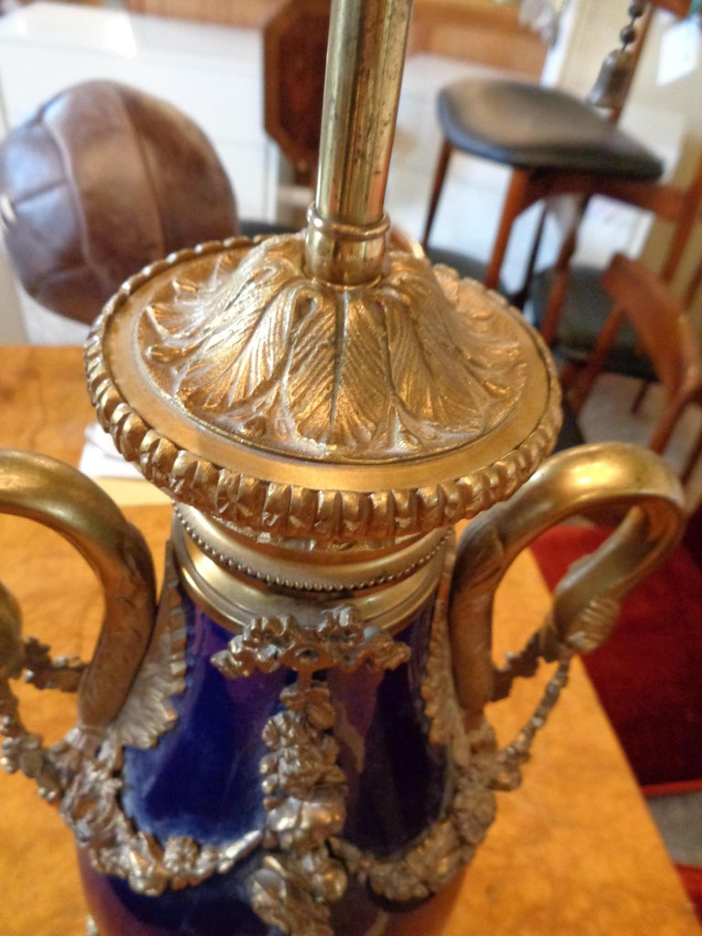 French Sevres Style Cobalt Blue Porcelain & Bronze Swan Handle Urn Mounted as a Lamp For Sale