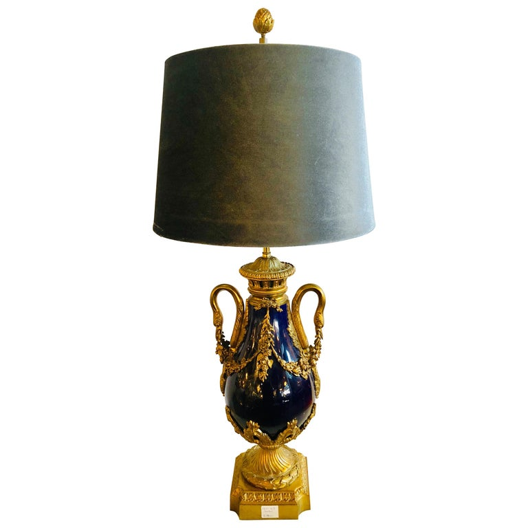 Sevres Style Cobalt Blue Porcelain & Bronze Swan Handle Urn Mounted as a Lamp For Sale