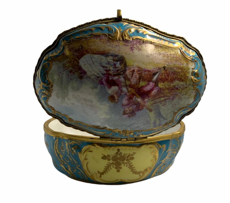 Sevres Style French Porcelain Trinket Box For Sale 4