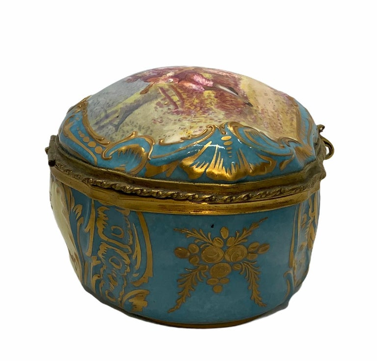 Rococo Sevres Style French Porcelain Trinket Box For Sale
