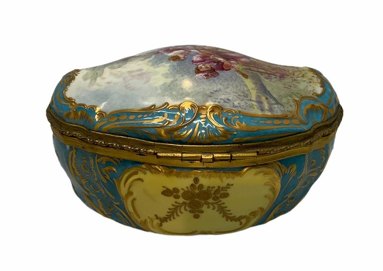 Hand-Painted Sevres Style French Porcelain Trinket Box For Sale
