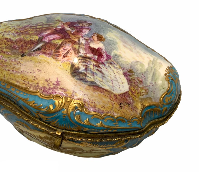19th Century Sevres Style French Porcelain Trinket Box For Sale
