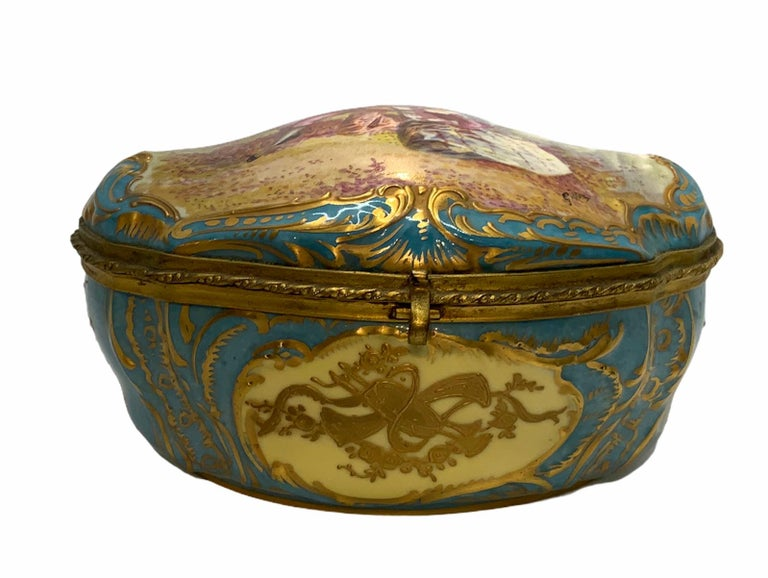 Sevres Style French Porcelain Trinket Box For Sale 2