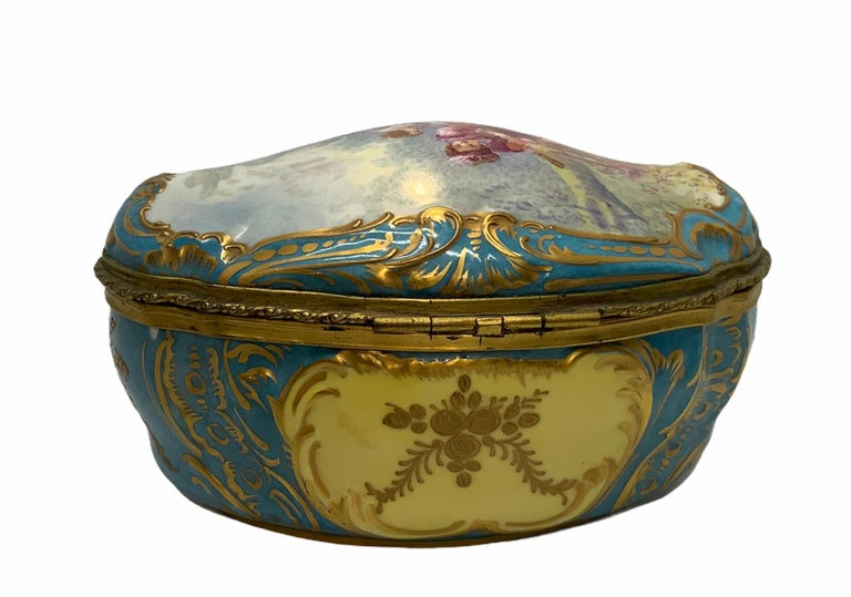 Sevres Style French Porcelain Trinket Box For Sale 3