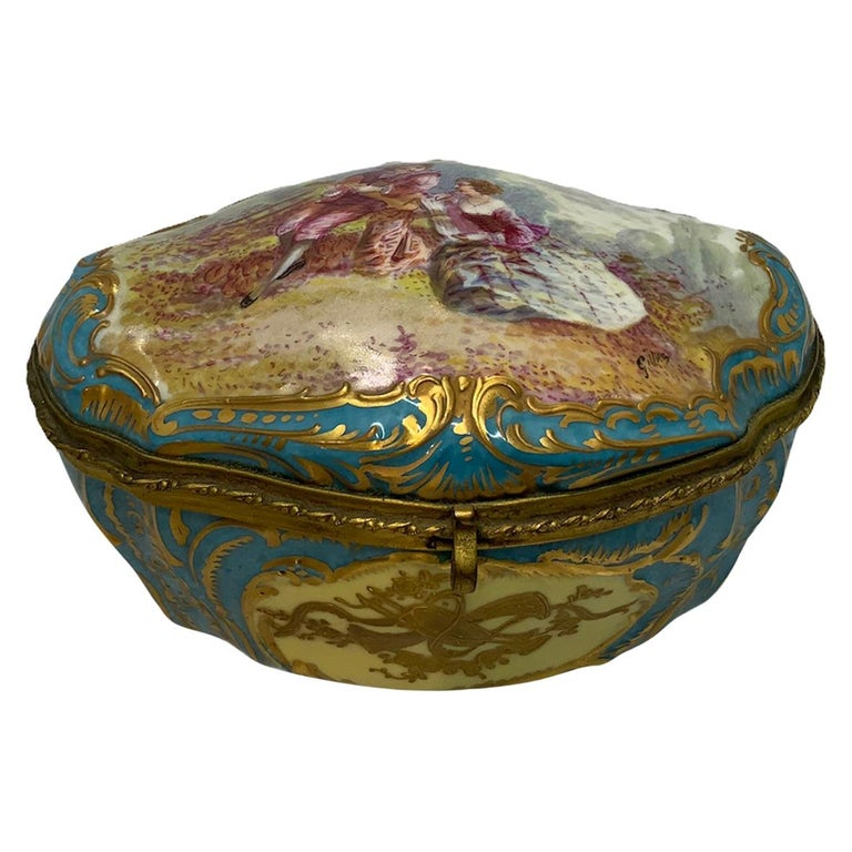 Sevres Style French Porcelain Trinket Box For Sale