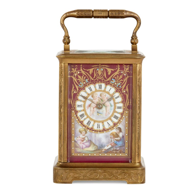 This beautiful clock was crafted in circa 1870 in France. Known as a carriage clock, it was designed for use when travelling. Such clocks were crafted on a small scale with handles, so they could be easily transportable from one place to