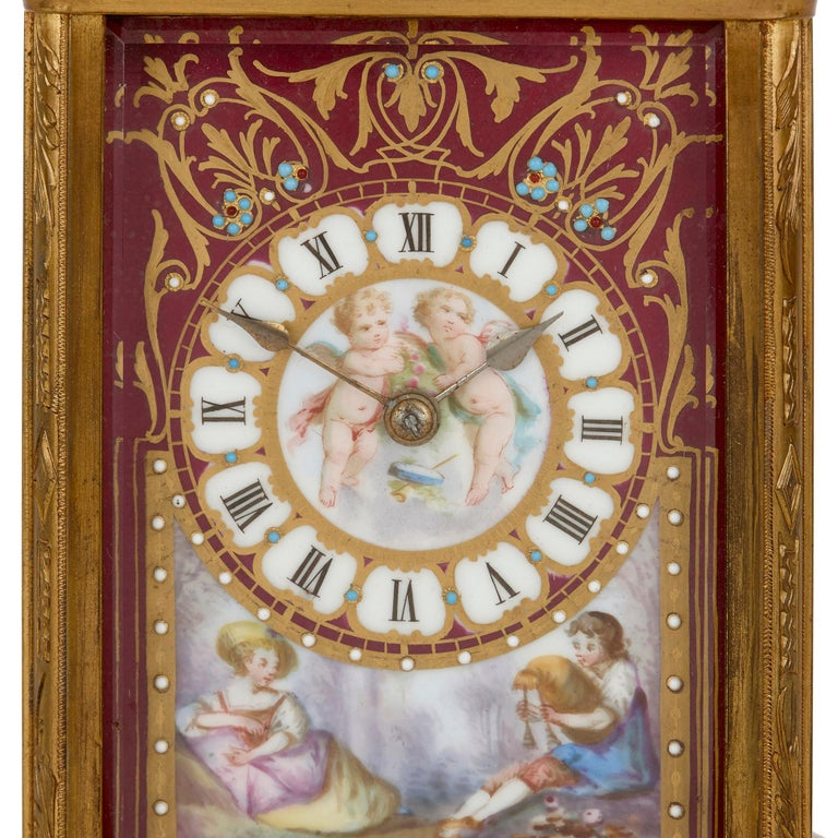 Rococo Sèvres Style Gilt Bronze and Porcelain Carriage Clock For Sale