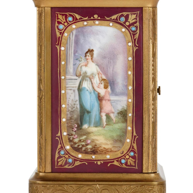 French Sèvres Style Gilt Bronze and Porcelain Carriage Clock For Sale