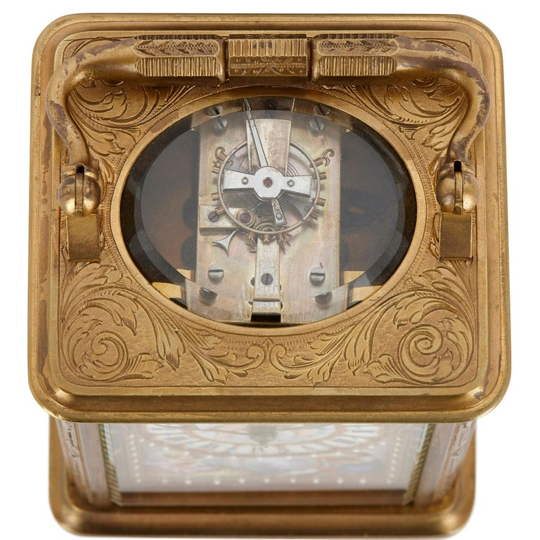 Sèvres Style Gilt Bronze and Porcelain Carriage Clock In Good Condition For Sale In London, GB