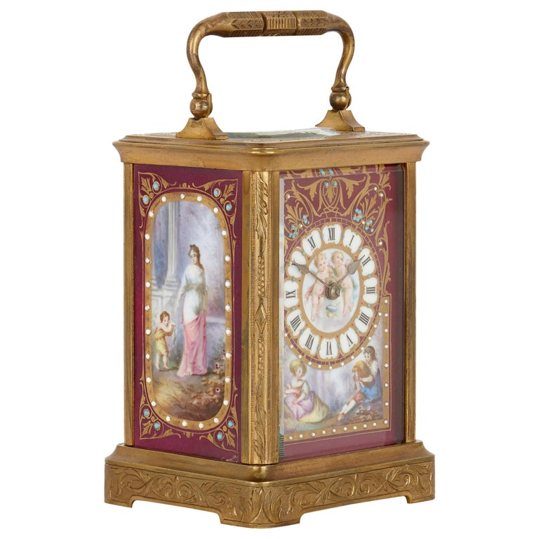 Sèvres Style Gilt Bronze and Porcelain Carriage Clock For Sale