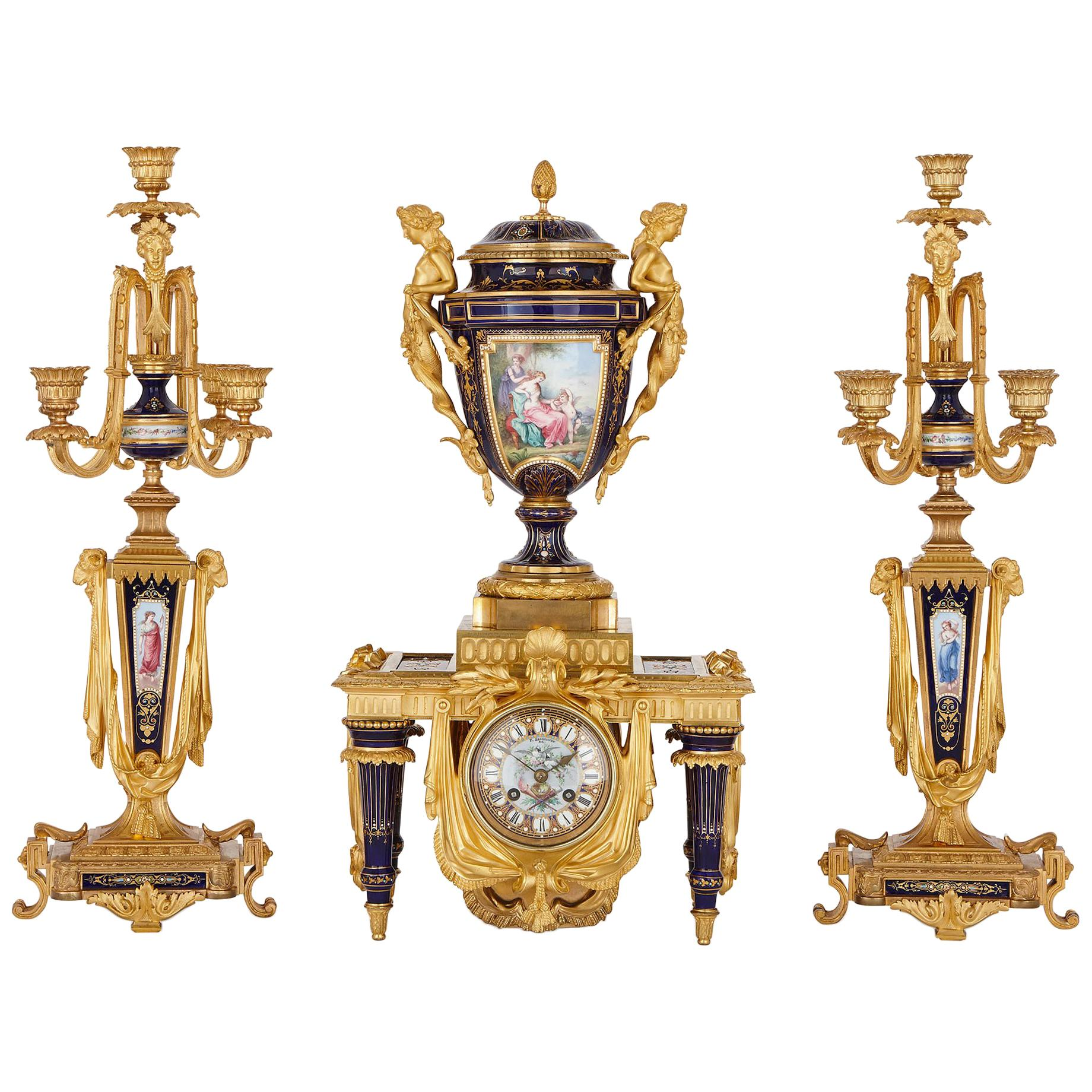Sèvres Style Gilt Bronze-Mounted Porcelain Clock Set by Sévin and Barbedienne