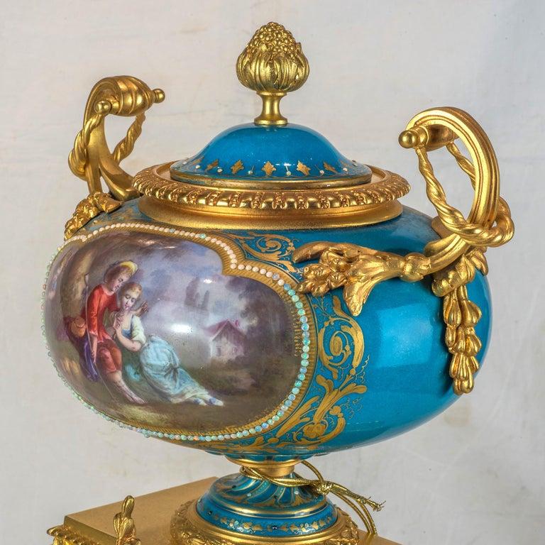 20th Century Sèvres-Style Gilt Bronze Mounted Porcelain Mantel Clock For Sale