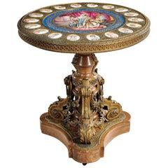 Sèvres Style Gilt-Bronze with Porcelain Plaques Center Table