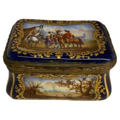 Sevres Style Hand Painted Porcelain Small Box