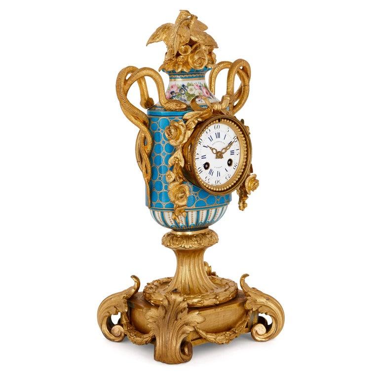 Napoleon III Sèvres Style Ormolu Mounted Mantel Clock by Kreisser For Sale