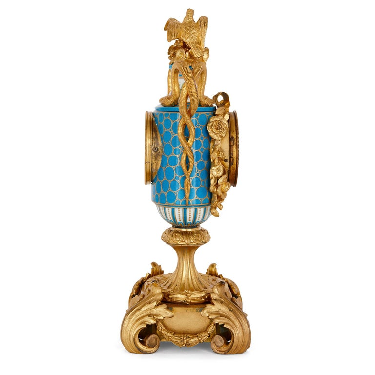 French Sèvres Style Ormolu Mounted Mantel Clock by Kreisser For Sale