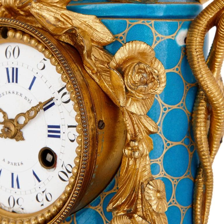 Gilt Sèvres Style Ormolu Mounted Mantel Clock by Kreisser For Sale