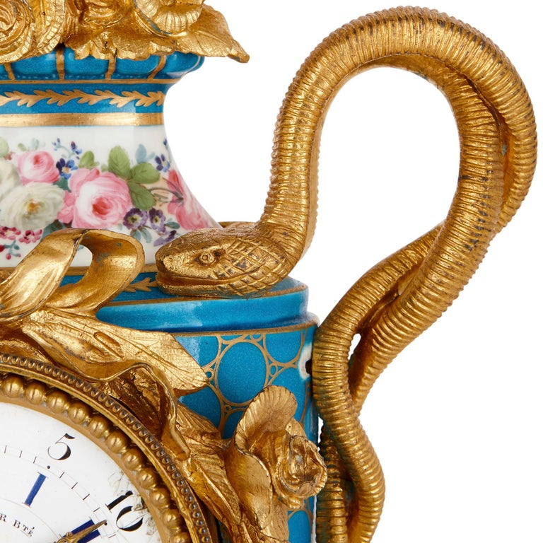 Sèvres Style Ormolu Mounted Mantel Clock by Kreisser In Good Condition For Sale In London, GB