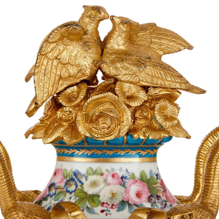 Mid-19th Century Sèvres Style Ormolu Mounted Mantel Clock by Kreisser For Sale