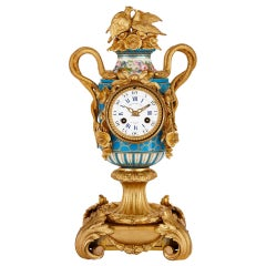 Sèvres Style Ormolu Mounted Mantel Clock by Kreisser