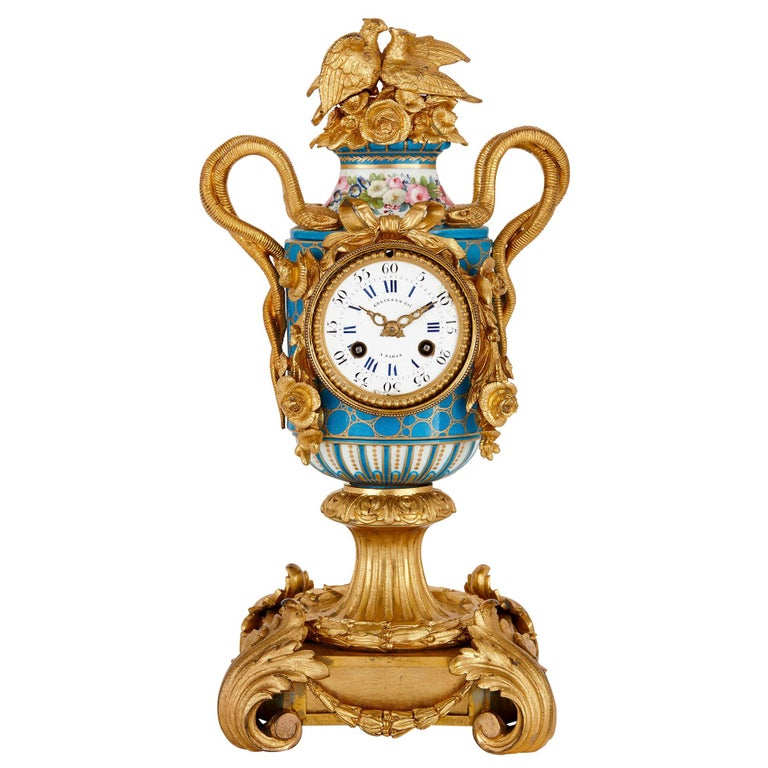 Sèvres Style Ormolu Mounted Mantel Clock by Kreisser For Sale