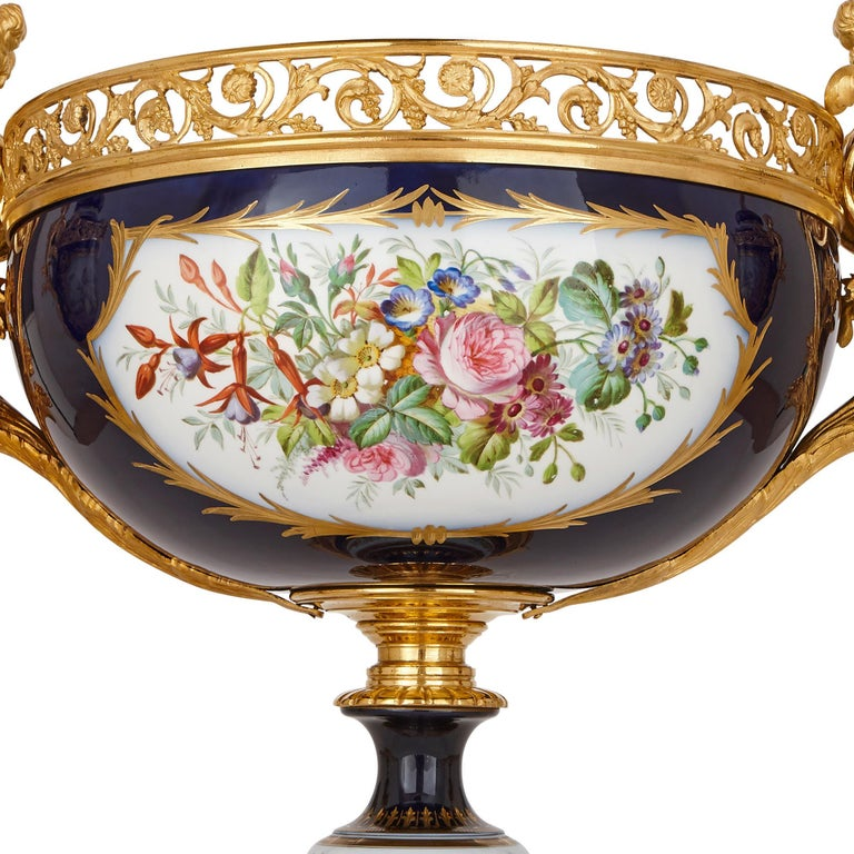 Rococo Sèvres Style Porcelain and Gilt Bronze Jardiniere and Vase Garniture  For Sale