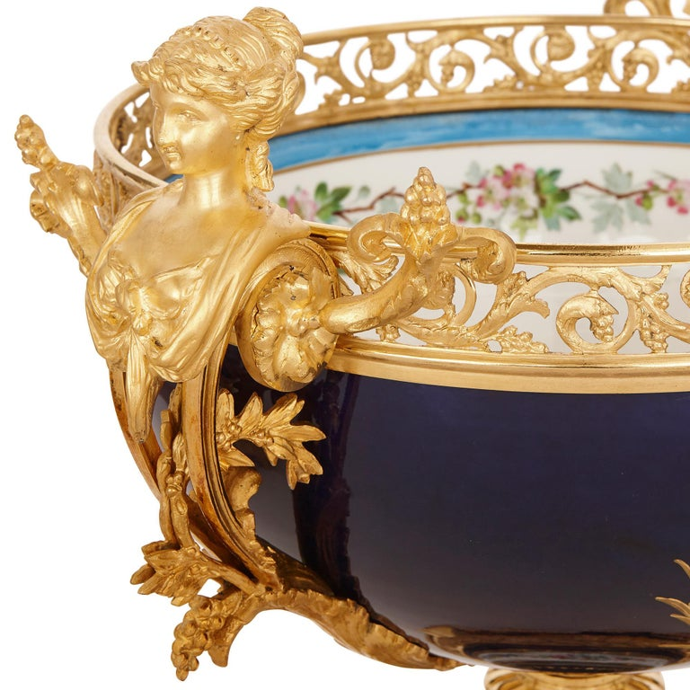 French Sèvres Style Porcelain and Gilt Bronze Jardiniere and Vase Garniture  For Sale