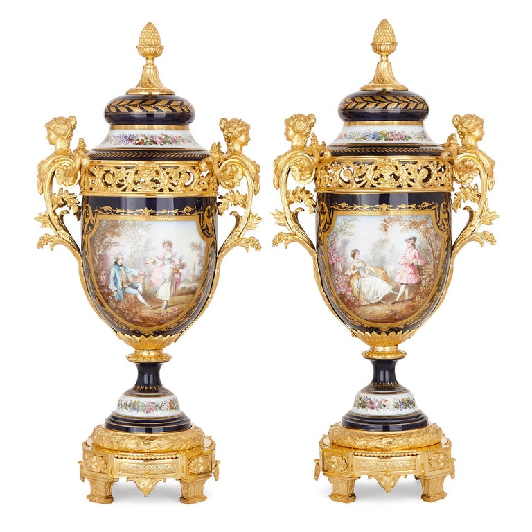 19th Century Sèvres Style Porcelain and Gilt Bronze Jardiniere and Vase Garniture  For Sale