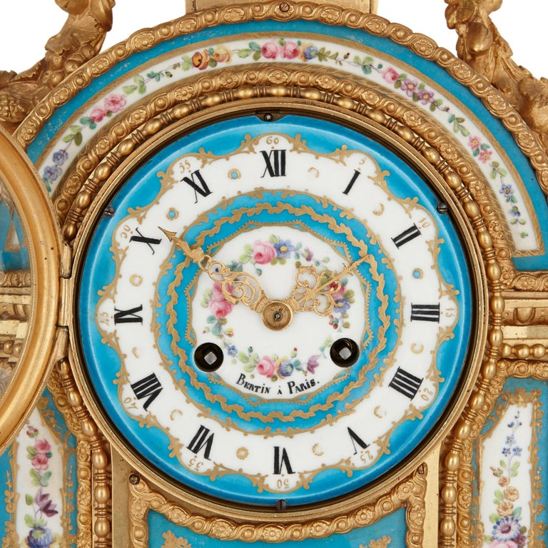 Rococo Sèvres Style Porcelain and Gilt Bronze Mantel Clock For Sale
