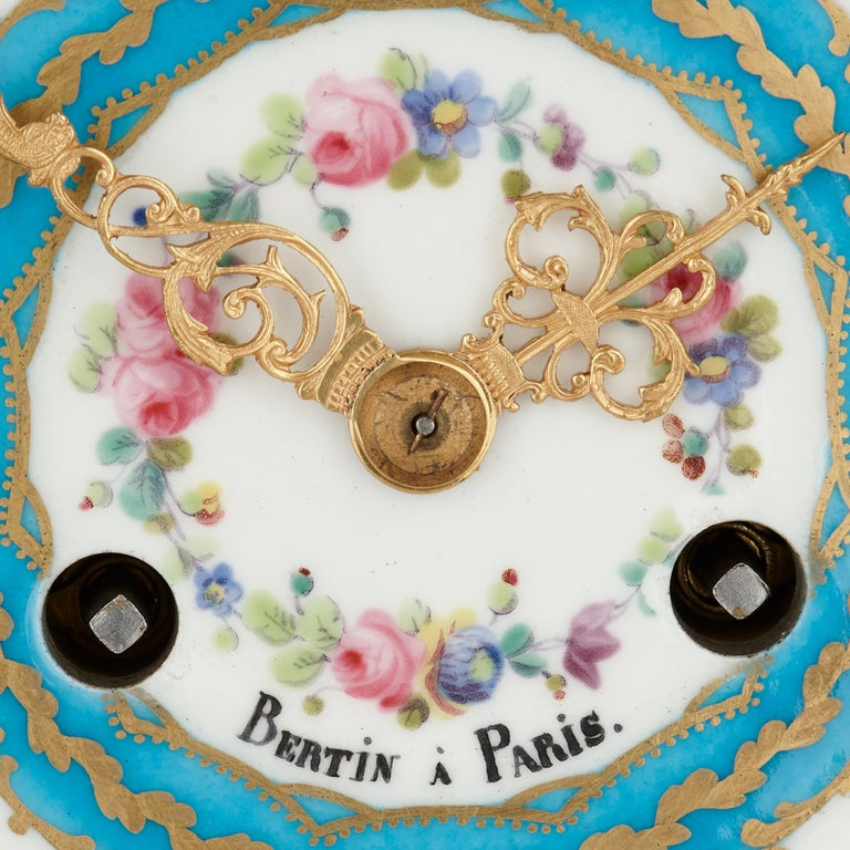 French Sèvres Style Porcelain and Gilt Bronze Mantel Clock For Sale