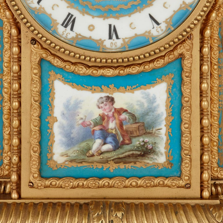 Sèvres Style Porcelain and Gilt Bronze Mantel Clock In Good Condition For Sale In London, GB