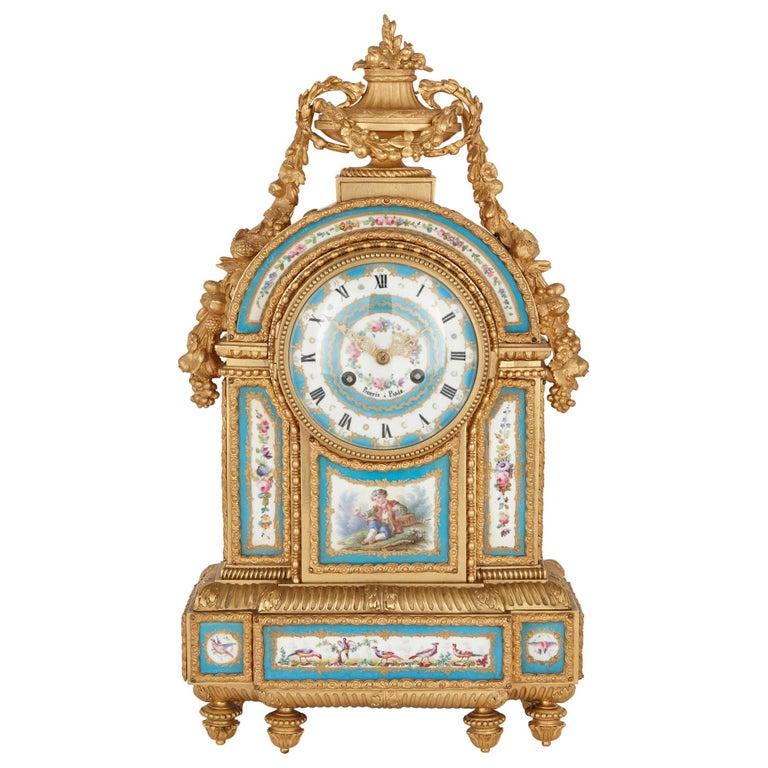 Sèvres Style Porcelain and Gilt Bronze Mantel Clock For Sale