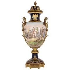 Sèvres Style Porcelain and Gilt Bronze Vase Depicting Napoleon