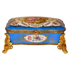 Sevres Style Porcelain Footed Dresser Box, circa 1920