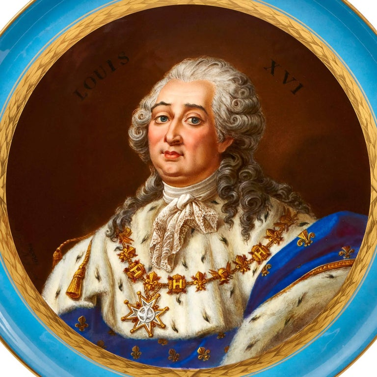 This exquisite antique porcelain plate was crafted in the style of the famous Sèvres Porcelain Manufactory and depicts King Louis XVI of France. The portrait shows the king wearing a powdered wig and a sumptuous ermine-collared cloak, and is likely