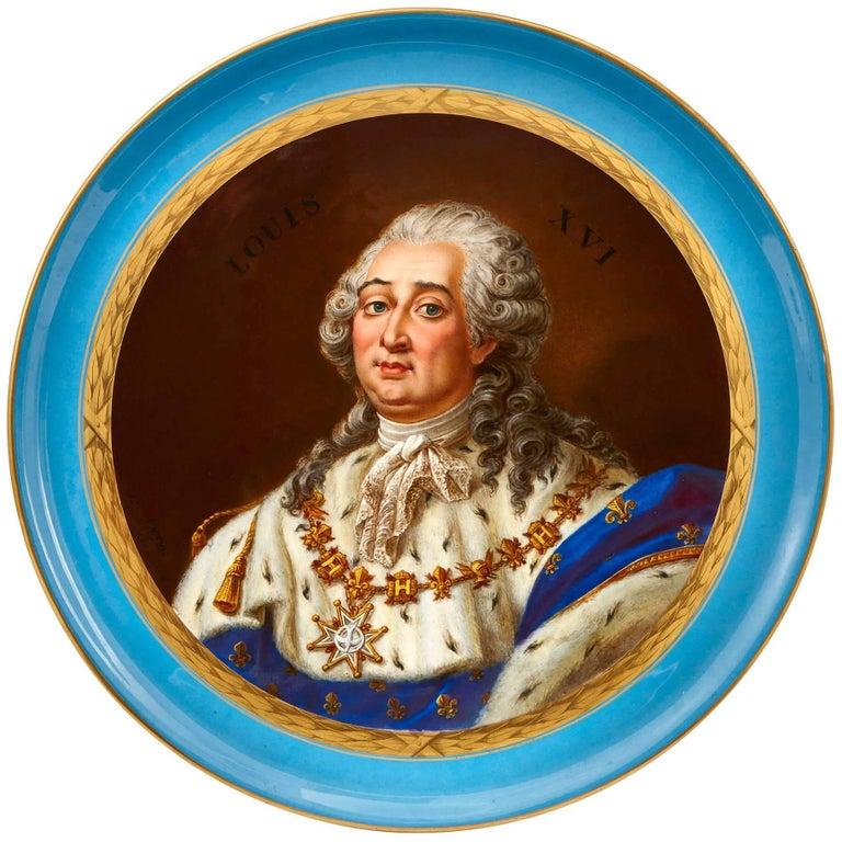 Sèvres Style Porcelain Plate Depicting King Louis XVI For Sale