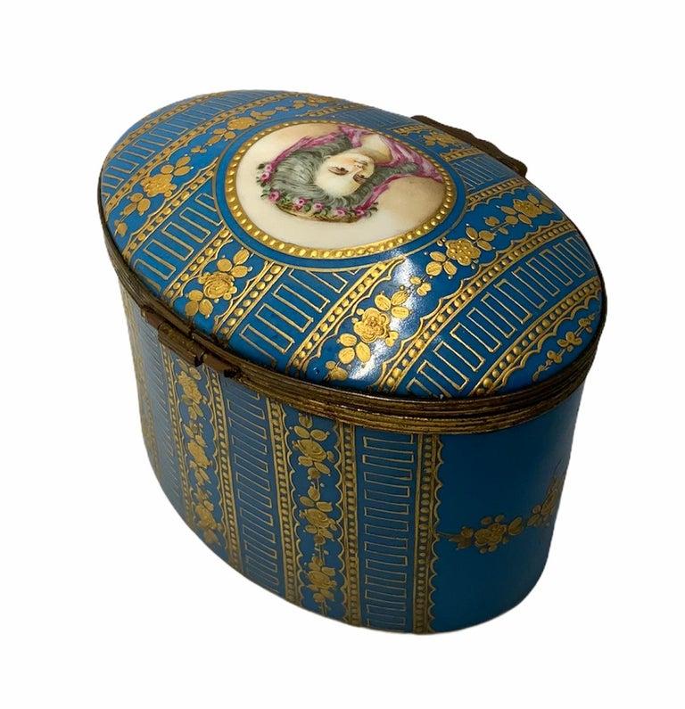 French Sevres Style Porcelaine De Paris Hinged Chest Box For Sale