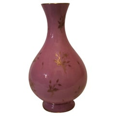 Sevres Vase in the Pink Pompadour Color Accented With Painted Gold Flowers
