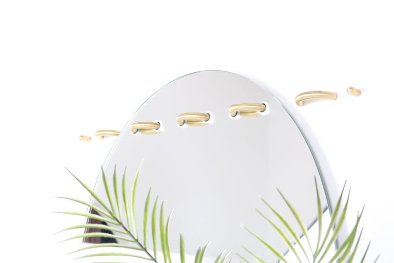 Other Sewn Surfaces Mirror, Oval with Brass Stitches by Debra Folz For Sale
