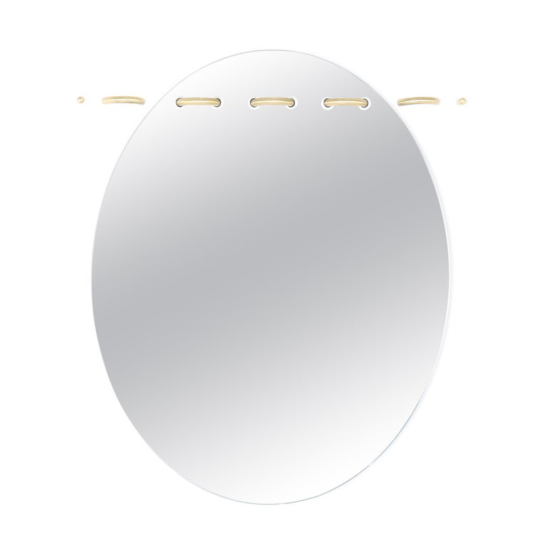 Sewn Surfaces Mirror, Oval with Brass Stitches by Debra Folz For Sale