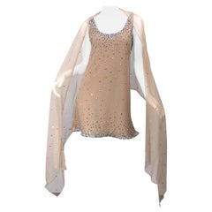 Sex and the City CD Greene Nude Beige Rhinestone Crystal Vintage Dress + Shawl