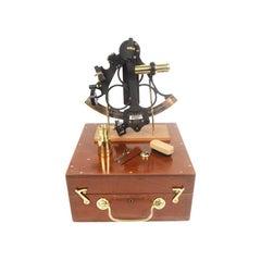 1900s Brass Nautical Sextant Signed HEATH & C Mahogany Box Antique Marine Tool