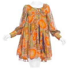 Sexy 1960 -1970s Howard Hirsh Paisley Cotton Mod Flower Power Dress