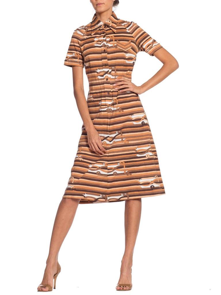 Sexy 1970s Cotton Jersey Belt Print Shirt Dress For Sale 5