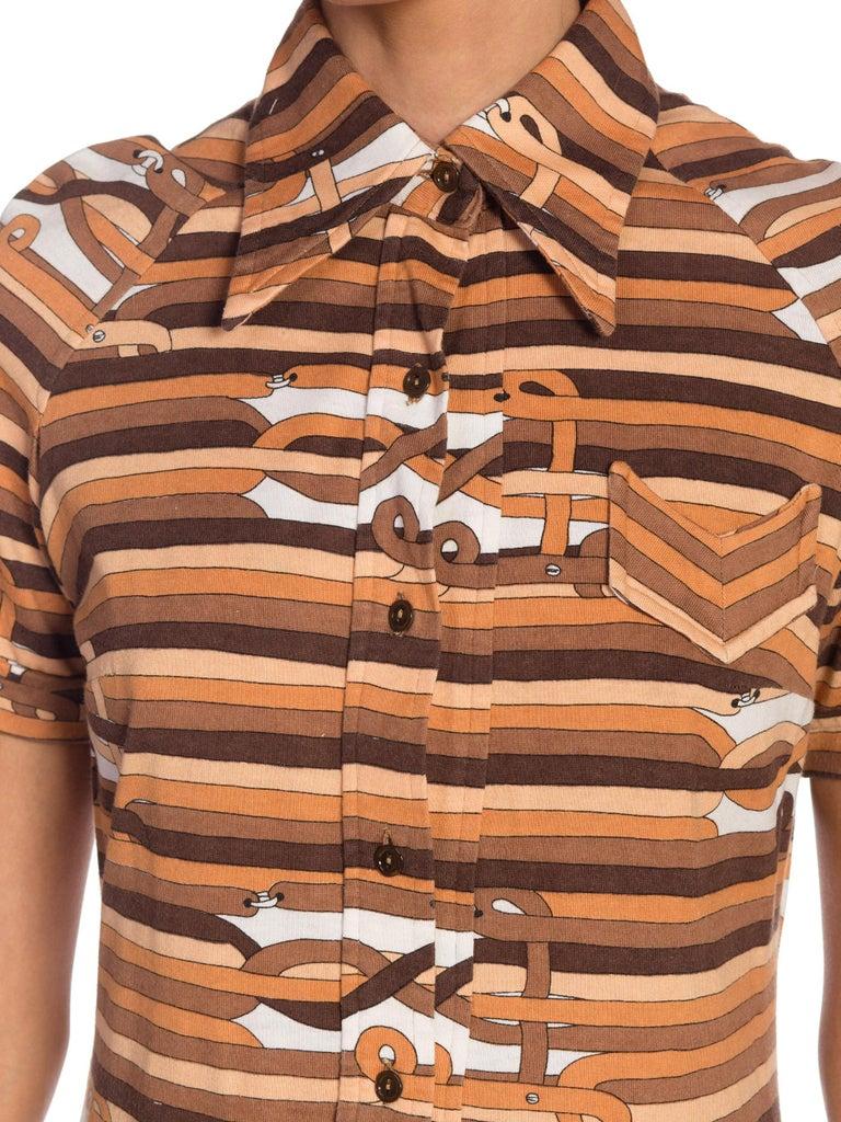 Sexy 1970s Cotton Jersey Belt Print Shirt Dress For Sale 6